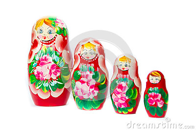 Set matryoshka russian nesting dolls isolated on white background