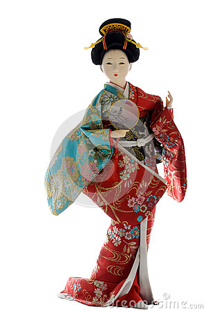 Japanese Geisha doll on a white background