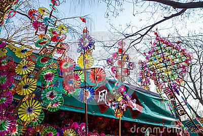 Colorful rainbow toy pinwheels on Spring Festival Temple Fair, during Chinese New Year