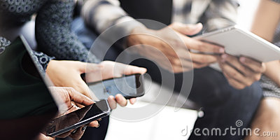 People Wating Digital Tablet Mobile Phone Technology Concept
