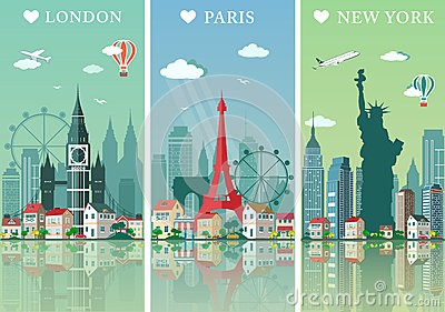 stock image of cities skylines set. flat landscapes vector illustration. london, paris and new york cities skylines design with landmarks