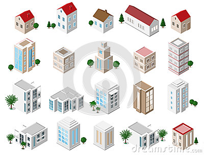 Set of 3d detailed isometric city buildings: private houses, skyscrapers, real estate, public buildings, hotels. Building icons co