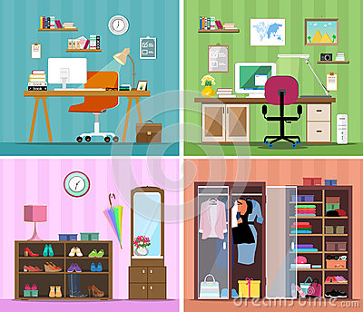 Set of colorful vector interior design house rooms with furniture icons: working place with computer, modern home office, wardrobe
