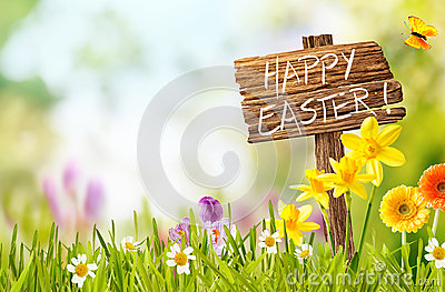 Joyful spring background for a Happy easter