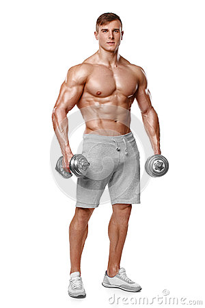 Sexy athletic man showing muscular body with dumbbells, full length, isolated over white background. Strong male naked torso abs