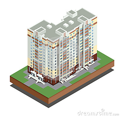 Isometric buildings real estate - city buildings - Residential house - decorative icons set -  vector