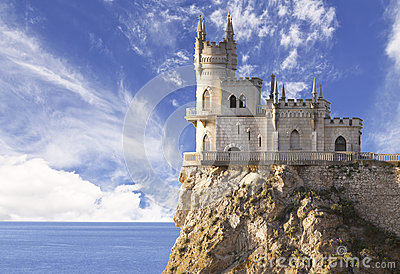 Swallow's Nest castle on the rock over the Black Sea early in the morning.