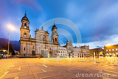 Main square with church, Bolivar square in Bogota, Colombia