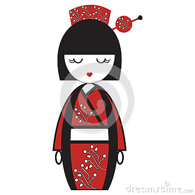 Oriental Japanese geisha doll with kimono with oriental flowers and stick with round element inspired by Asian tradition