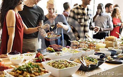 stock image of buffet dinner restaurant catering food concept