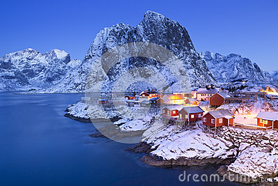 Norwegian fisherman's cabins on the Lofoten in winter