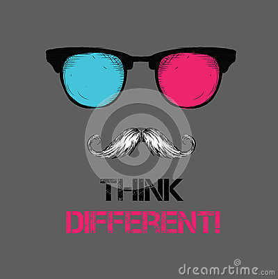 Set of hippie glasses, mustache, tie. Think different. Vector illustration
