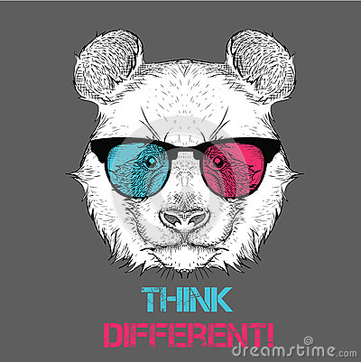 Portrait of the panda in the colored glasses. Think different. Vector illustration.