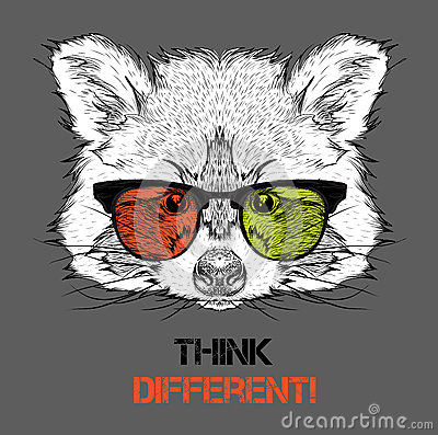 Portrait of the raccoon in the colored glasses. Think different. Vector illustration.