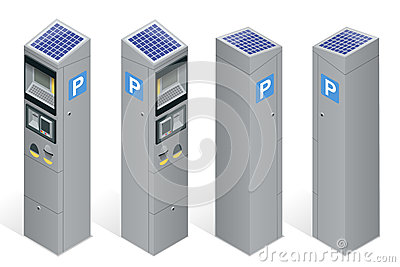 Parking meter allowing payment by mobile phone, credit cards, coins. Infographic business elements. Flat 3d isometric