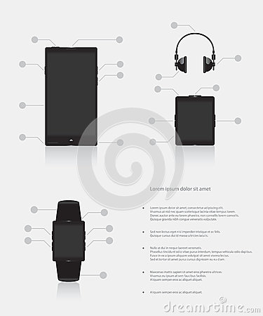 Set of gadgets electronic devices mobile phone smart watch music player