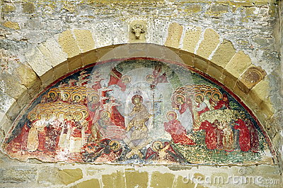Orthodox church. Old mural painting - Sucevita Monastery, landmark attraction in Romania