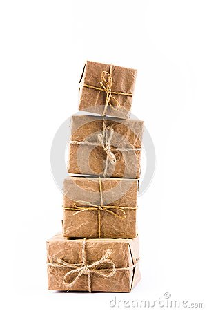 Paper gift box on white background