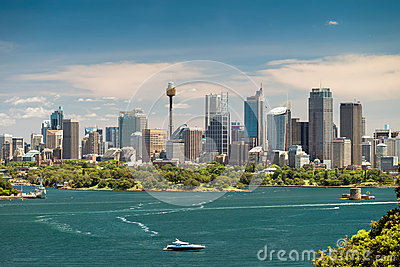 Dramatic view at Sydney city urban skyline