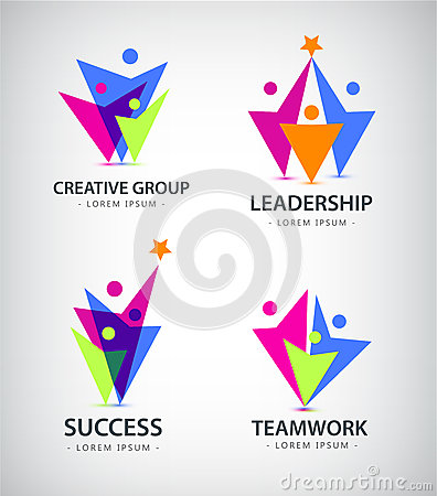 Vector abstract stylized family of 3, team lead icon, logo, sign .