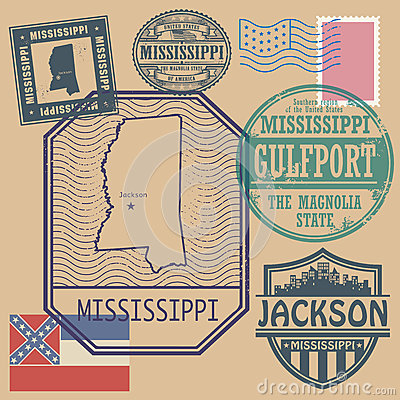 Stamp set with the name and map of Mississippi