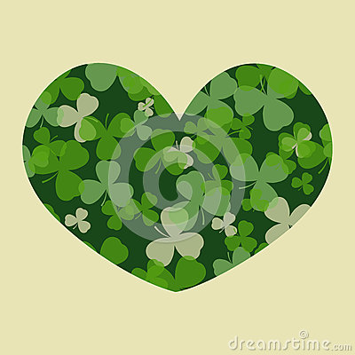 Vector St Patrick's day card. Green clover leaves on clover heart shape and white or beige background