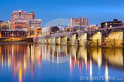 Harrisburg skyline and the historic Market Street Bridge at dusk