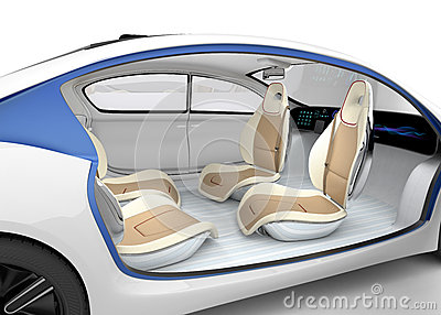 Autonomous car's interior concept. The car offer folding steering wheel, rotatable passenger seat