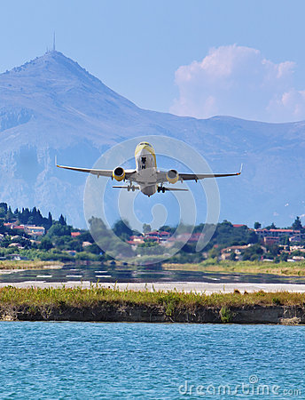 Airplane taking off from Corfu town airport