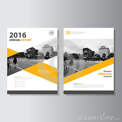 Vector Leaflet Brochure Flyer template A4 size design, annual report book cover layout design, Abstract yellow template