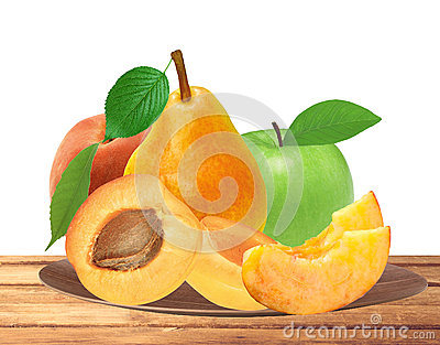 Fresh apricot, peach, apple and pear on wooden plate isolated on