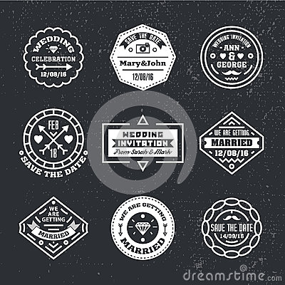 Vector set of vintage wedding badges, sings, logos.
