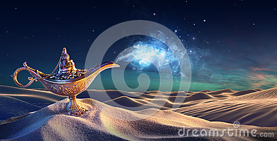 Lamp of Wishes In The Desert - Genie Coming Out