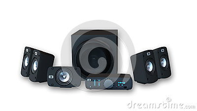 Surround Sound Audio Set, amplifier with six speakers on white background