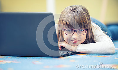 Young of beautiful pre-teen girl with tablet laptop pc. Education technology for teenagers - adolescents children