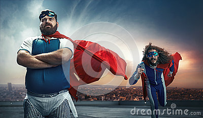 Funny portrait of two super heroes