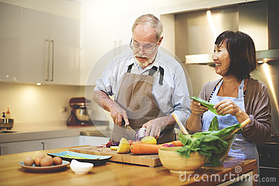 Couple Cooking Together Enjoyment Concept