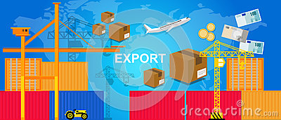 Exports trading transportation logistic harbor containers plane and crane money package box world trade