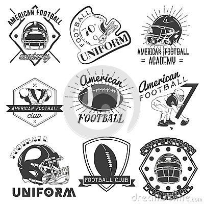 Vector set of rugby and american football labels in vintage style. Sport concept.