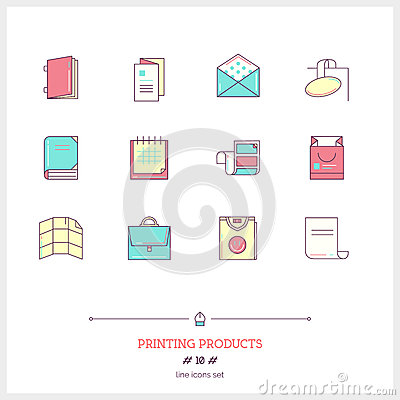 Color line icon set of printing objects elements. Print industry