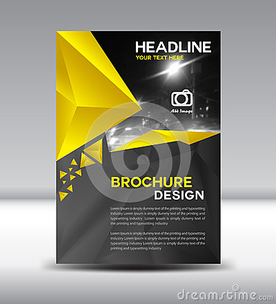 Yellow and black Vector brochure flyer and cover template polygo