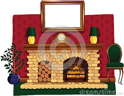 Log fire and hearth