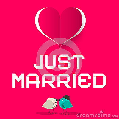 Just Married Pink Retro Vector Card with Love Birds