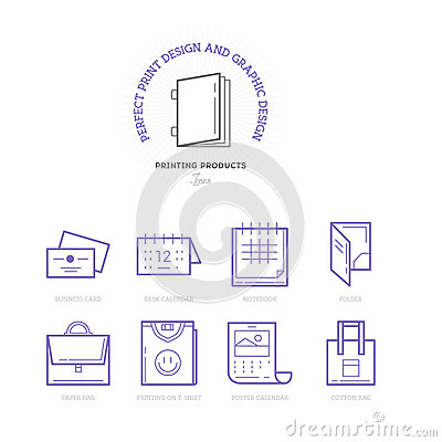 Flat line icons of Print design products. Printing industry icon