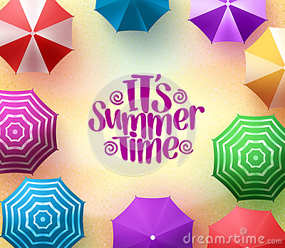 Colorful Beach Umbrellas Background with Summer Time Title in Sea Shore