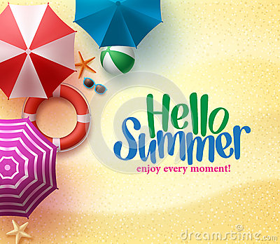 Colorful Beach Umbrellas Background with Summer Time Title