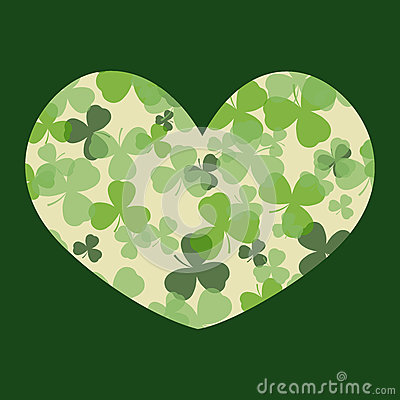 Vector St Patrick's day card. Green and white clover leaves on heart shape and dark background.