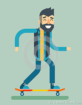Smiling Adult Man Geek Scooter Happy Hipster Character Ride Skateboard Icon Symbol Stylish Background Flat Design