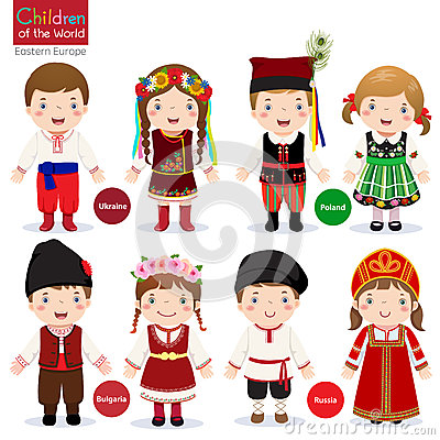 Kids in different traditional costumes