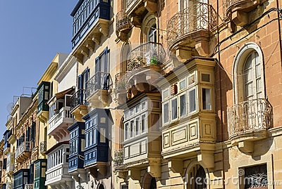 Traditional balconies in Valletta Malta